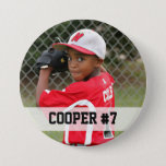 """Custom photo sports button / pin with name & #<br><div class=""""desc"""">This custom button / pin with your child's name and # is a great way to show support during games all season long. Personalize anyway you like... name and number, team name, mascot or """"Go Cooper!"""" - it's up to you. Button also available plain in our store. Available in many...</div>"""