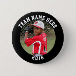 "Custom Photo Sports pin / button with team name<br><div class=""desc"">Support your favorite youth sports player with a custom photo pin. You can personalize this button with a team name (or player name) and year. Or change the text boxes to suit your needs. Thanks for supporting Team Lawrence... a store that helps raise money for school trips for two middle...</div>"