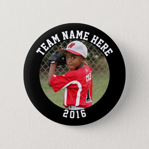 Custom Photo Sports pin  button with team name