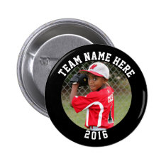 Custom Photo Sports pin / button with team name at Zazzle