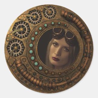 Custom Photo Steampunk Clock Time Metal Gears Classic Round Sticker