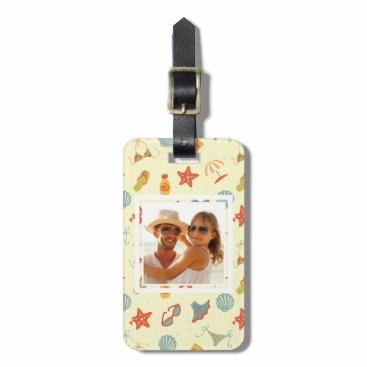 Beach Themed Custom Photo Summer Beach Pattern Luggage Tag