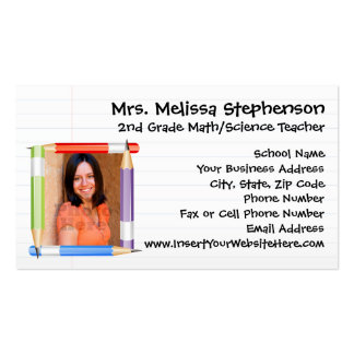 Custom Photo Teacher/School Business Calling Card Double-Sided Standard Business Cards (Pack Of 100)