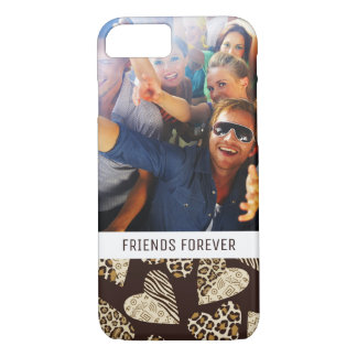 Custom Photo & Text Animal skin with hearts iPhone 8/7 Case