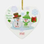 Custom Photo & Text Couple's First Christmas Christmas Ornament