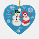 Custom Photo & Text Couple's First Christmas Christmas Tree Ornaments