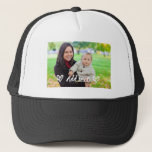 "Custom, Photo & Text hat. Trucker Hat<br><div class=""desc"">A truly personal gift for him or her. Black and White hat,  with space for you to add a photo,  and text of your choice. Customized to your very own needs.</div>"