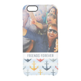 Custom Photo & Text Nautical Pattern with Anchors Clear iPhone 6/6S Case