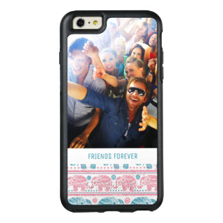 Custom Photo & Text Pink & Teal Elephant Pattern OtterBox iPhone 6/6s Plus Case
