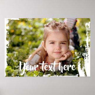 Custom Photo Text Pink White Paint Streaks Borders Poster
