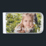 """Custom Photo Text Pink White Paint Streaks Borders Silver Finish Money Clip<br><div class=""""desc"""">You can add your own photo and text to this product to personalize it. Around the edges there is a white paint streaks style border that creates a nice and simple frame around the photo.</div>"""