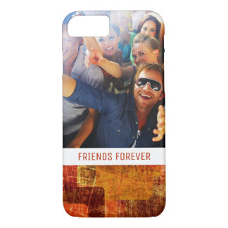 Custom Photo & Text Squares on grunge wall iPhone 8/7 Case