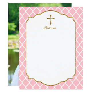 Custom Photo Thank You, Gold Cross Quatrefoil Pink Card