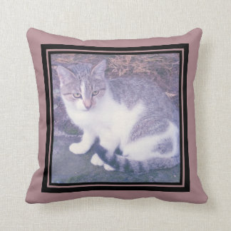Custom photo throw pillow with elegant border