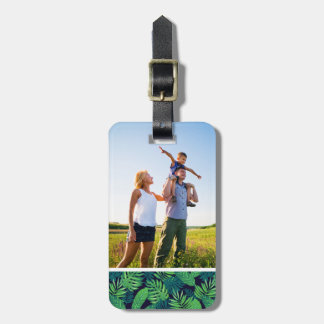 Custom Photo Tropical Leaves Pattern Luggage Tag
