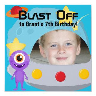 "Custom Photo UFO Alien Birthday Invitation 5.25"" Square Invitation Card"