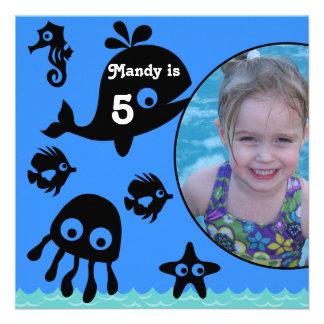 Custom Photo Under the Sea Birthday Invitation