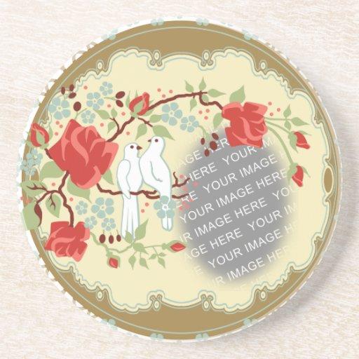Custom Photo Vintage Love Doves Beverage Coasters