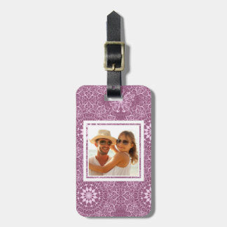 Custom Photo Vintage Pink Pattern Tag For Luggage