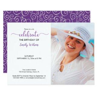 Custom Photo Violet Pattern Birthday Invitation