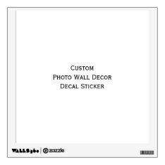 Custom Photo Wall Decor Peel N Stick Decal Sticker at Zazzle