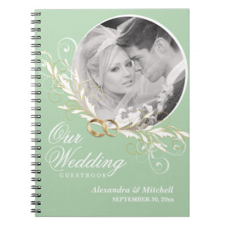 Custom Photo Wedding Guestbook - Sage and White Notebook
