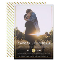 Custom Photo Wedding | Modern Typography & Gold Invitation