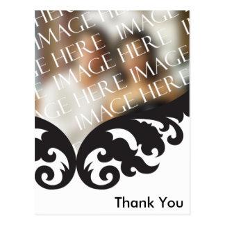 Custom Photo Wedding Thank You Black White Damask Postcard