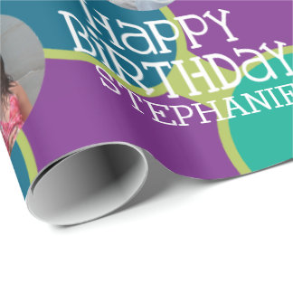Custom Photo Whimsical and Colorful Birthday Wrapping Paper