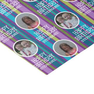 "Custom Photo Whimsical & Colorful Birthday Stripes 10"" X 15"" Tissue Paper"