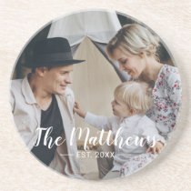 Custom photo with family name and established year coaster