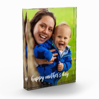 Custom Photo with Happy Mother's Day Modern Script Acrylic Award
