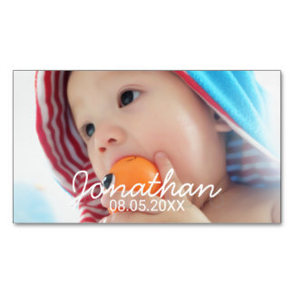 Custom Photo with Name and Date Business Card Magnet