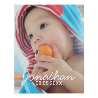 Custom Photo with Name and Date Faux Canvas Print