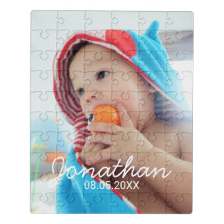 Custom Photo with Name and Date Jigsaw Puzzle