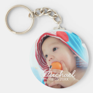 Custom Photo with Name and Date Keychain