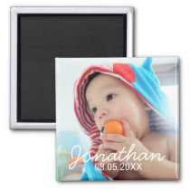 Custom Photo with Name and Date Magnet