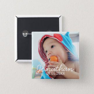 Custom Photo with Name and Date Pinback Button