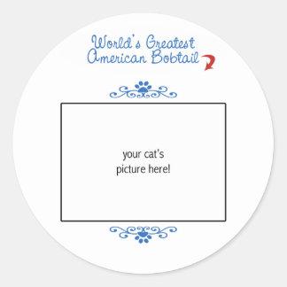 Custom Photo! Worlds Greatest American Bobtail Classic Round Sticker