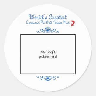 Custom Photo Worlds Greatest American Pit Bull Mix Sticker