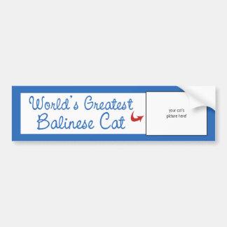 Custom Photo! Worlds Greatest Balinese Cat Car Bumper Sticker