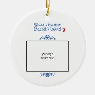 Custom Photo! Worlds Greatest Basset Hound Christmas Tree Ornaments
