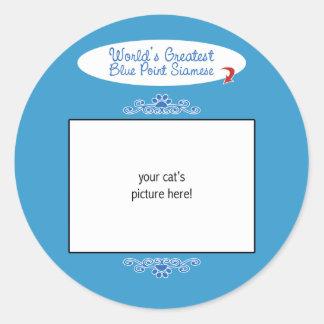 Custom Photo! Worlds Greatest Blue Point Siamese Classic Round Sticker