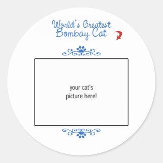 Custom Photo! Worlds Greatest Bombay Cat Classic Round Sticker