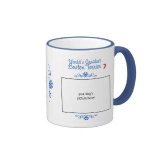 Custom Photo! Worlds Greatest Boston Terrier Ringer Coffee Mug