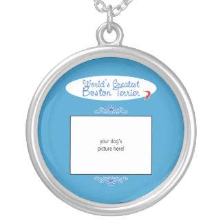 Custom Photo! Worlds Greatest Boston Terrier Round Pendant Necklace