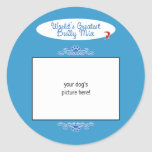 Custom Photo! Worlds Greatest Bully Breed Mix Classic Round Sticker