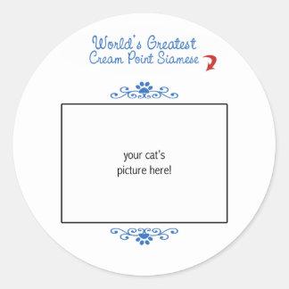 Custom Photo! Worlds Greatest Cream Point Siamese Classic Round Sticker