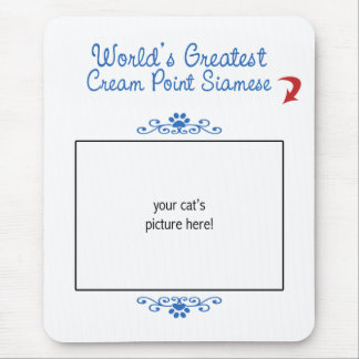 Custom Photo! Worlds Greatest Cream Point Siamese Mouse Pad