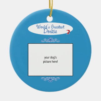 Custom Photo! Worlds Greatest Dorkie Double-Sided Ceramic Round Christmas Ornament
